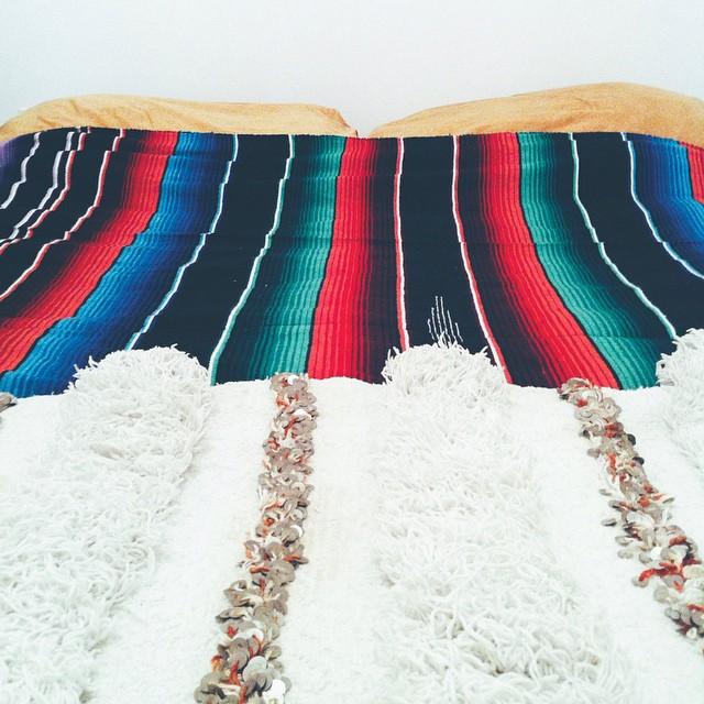 Handira + serape; Moroccan / Mexican bed #vscocam